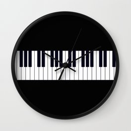 Piano Keys - Black and white simple piano keys pattern minimalistic music themed artwork Wall Clock
