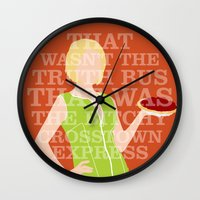 pushing daisies Wall Clocks featuring Pushing Daisies - Olive by MacGuffin Designs