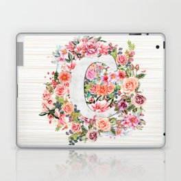 Initial Letter C Watercolor Flower Laptop & iPad Skin