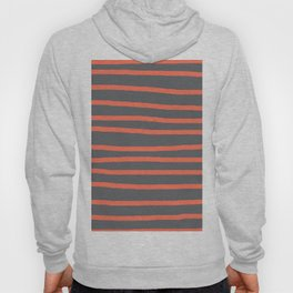 Simply Drawn Stripes Deep Coral on Storm Gray Hoody