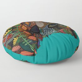 bison teal Floor Pillow