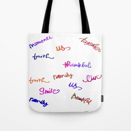 Faith, Us, Thankful, Love, Smile, Words Of Hope, Watercolor Tote Bag