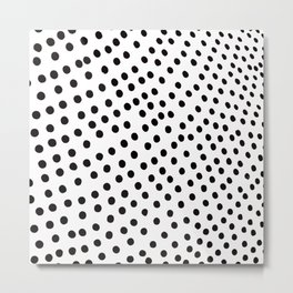 Warped Black Polka Dot Rain Metal Print