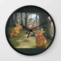 rabbits Wall Clocks featuring Rabbits by Elena Naylor