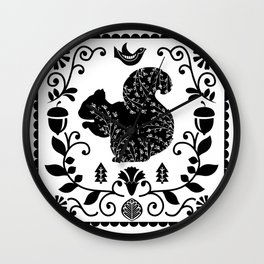 Woodland Folk Black And White Squirrel Tile Wall Clock