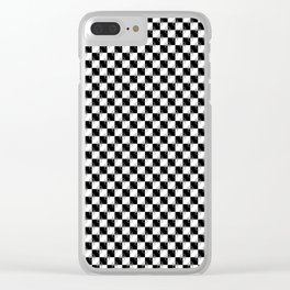 Small Black and White Checker Dog Paws Clear iPhone Case