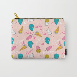 Alien outer space cute aliens french fries rad sodas pattern print pink Carry-All Pouch