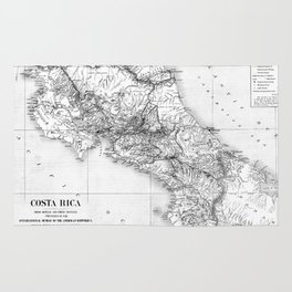 Vintage Map of Costa Rica (1903) BW Rug