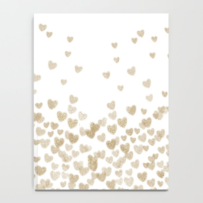 Gold Glitter Hearts - White Background for Valentines Day, Love, Bokeh, for trendy girls cell phone Notebook