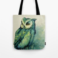 helen green Tote Bags featuring Green Owl by Teagan White