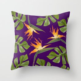 Monstera - and 3 Paradise Flowers Throw Pillow