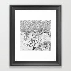 Kick-sledding Fox Framed Art Print
