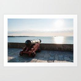 Old gun on the walls of Saint Malo Art Print
