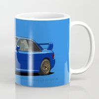subaru Mugs featuring Subaru Impreza 22B STI Type UK Sonic Blue by Digital Car Art