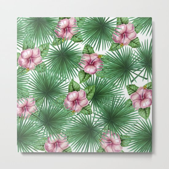 Jungle Love, Palm Leaves And Hibiscus White Metal Print