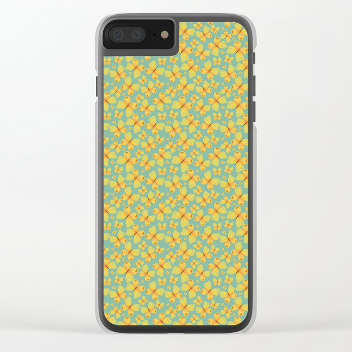 Yellow Butterflies Clear iPhone Case