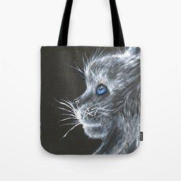 cat- white on black Tote Bag