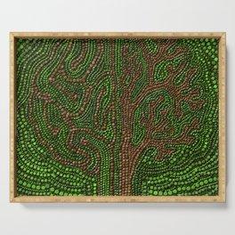 Dot Art Lawn Tree Digital Art Serving Tray