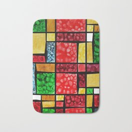 Abstract, square, qubism, red, Crucifixion, crown of thorns, Jesus, Christ Bath Mat