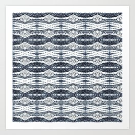 Blue White Soft Texture Stripes Art Print