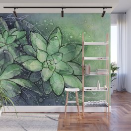 Crystal Succulents in Watercolor Wall Mural