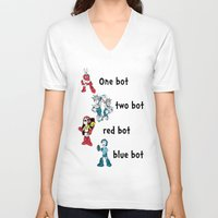 dr seuss V-neck T-shirts featuring 'Lots of Bots' by Dr. Light (Mega Man / Dr. Seuss parody) by PeterParkerPA