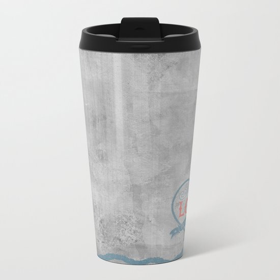 Maritime Design- Love is my anchor on grey abstract background Metal Travel Mug