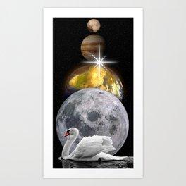 Planets Swan by GEN Z Art Print