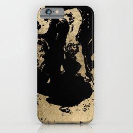 Elegant faux gold foil black chic marble pattern iPhone Case