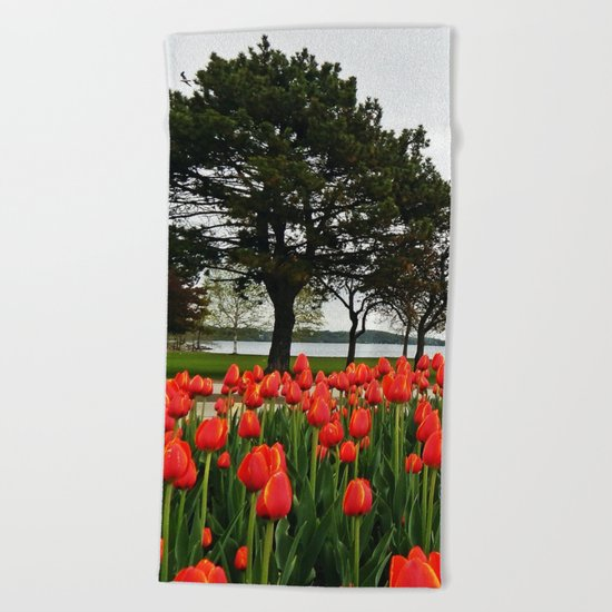 Tulips and the Trees by the Lake Beach Towel