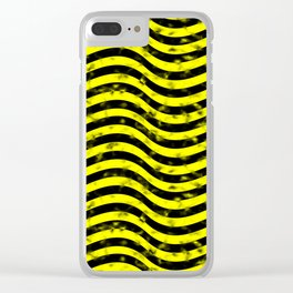Wiggly Yellow and Black Speckle Pattern Clear iPhone Case