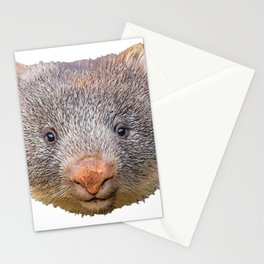 Wombat Face Mammal Frontal Grey Red Big Nose Stationery Cards