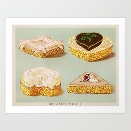 Decorated French Cakes Gateaux, Pastry, petit fours - T. Percy Lewis & A. G. Bromley Poster Art Print