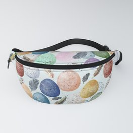 Pattern with eggs and feathers. Fanny Pack