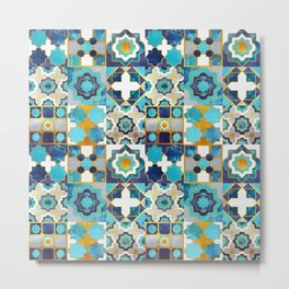 Spanish moroccan tiles inspiration // turquoise blue golden lines Metal Print