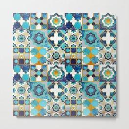 Spanish moroccan tiles inspiration // turquoise blue golden lines Metal Print