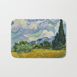 Classical Masterpiece 'Wheat Field with Cypresses' by Vincent van Gogh Bath Mat