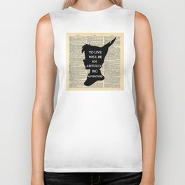 Peter Pan Over Vintage Dictionary Page - To Live Biker Tank