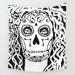Dia de Los Muertos - black glue resist Wall Tapestry
