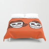 rockabilly Duvet Covers featuring Spooky Rockabilly Skulls. by Sparganum