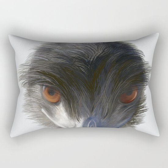 Suspicious Emu Stare, watercolor Rectangular Pillow