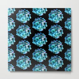 Green Blue Hydrangea Pattern Metal Print