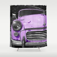 grand theft auto Shower Curtains featuring Purple Auto  by Beyond Reason