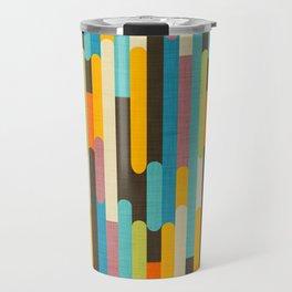 Retro Color Block Popsicle Sticks Blue Travel Mug