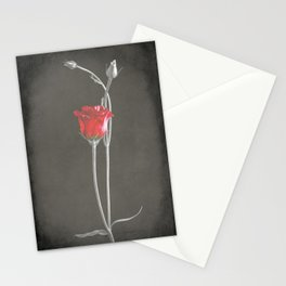 Red Lisianthus on Black  Stationery Cards