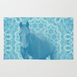 horse and wattle mandala in blue Rug