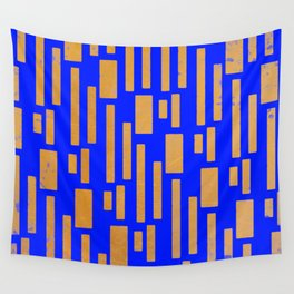 Abstract Bamboo Blue Gold Mid-Century Wall Tapestry