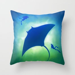 Blue Manta Throw Pillow