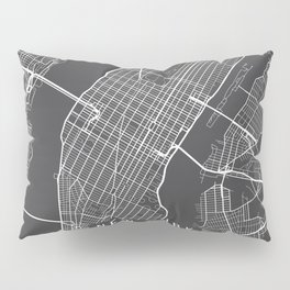 New York City Map, Manhattan New York USA - Charcoal Portrait Pillow Sham