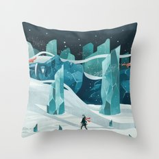 The wanderer and the ice forest Throw Pillow